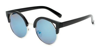 Angle of Rosewood #6759 in Black Frame with Blue Mirrored Lenses, Women's Cat Eye Sunglasses