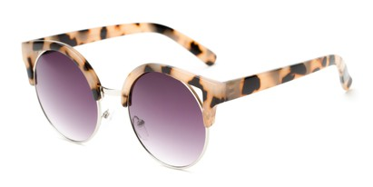 Angle of Rosewood #6759 in Light Tortoise Frame with Smoke Lenses, Women's Cat Eye Sunglasses