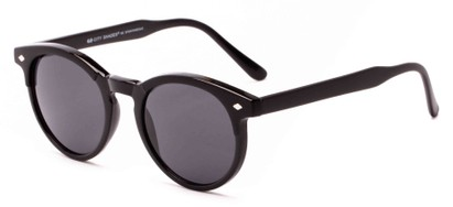 Angle of Carmine #6763 in Black Frame with Grey Lenses, Women's and Men's Round Sunglasses