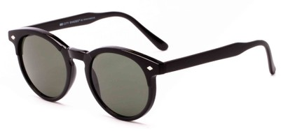 Angle of Carmine #6763 in Black Frame with Green Lenses, Women's and Men's Round Sunglasses