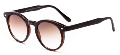 Angle of Carmine #6763 in Tortoise Frame with Amber Lenses, Women's and Men's Round Sunglasses