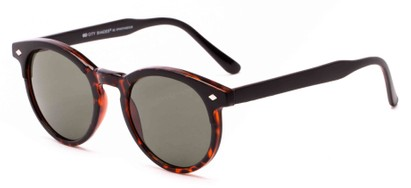 Angle of Carmine #6763 in Tortoise Frame with Green Lenses, Women's and Men's Round Sunglasses