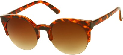 Angle of SW Retro Style #9941 in Red Tortoise Frame with Amber Lenses, Women's and Men's