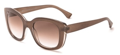 Angle of Acacia #6771 in Brown Sparkle Frame with Amber Gradient Lenses, Women's Cat Eye Sunglasses