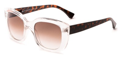 Angle of Acacia #6771 in Clear/Tortoise Frame with Amber Gradient Lenses, Women's Cat Eye Sunglasses