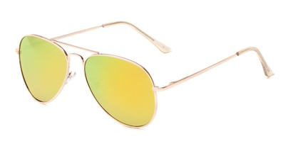 Angle of Grotto #6772 in Gold Frame with Yellow/Green Mirrored Lenses, Women's and Men's Aviator Sunglasses