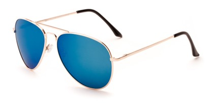Angle of Grotto #6772 in Gold Frame with Blue Mirrored Lenses, Women's and Men's Aviator Sunglasses