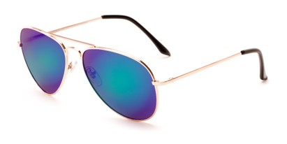 Angle of Grotto #6772 in Gold Frame with Blue/Green Mirrored Lense, Women's and Men's Aviator Sunglasses
