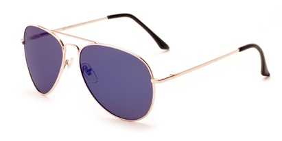 Angle of Grotto #6772 in Gold Frame with Purple Mirrored Lenses, Women's and Men's Aviator Sunglasses