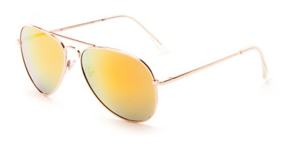 Angle of Grotto #6772 in Gold Frame with Orange Mirrored Lenses, Women's and Men's Aviator Sunglasses