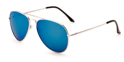 Angle of Grotto #6772 in Silver Frame with Blue Mirrored Lenses, Women's and Men's Aviator Sunglasses