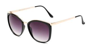 Angle of Primrose #6796 in Black/Gold Frame with Smoke Lenses, Women's Round Sunglasses