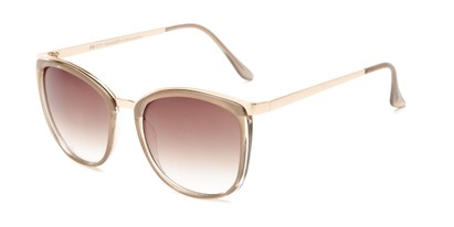 Angle of Primrose #6796 in Brown/Gold Frame with Amber Lenses, Women's Round Sunglasses