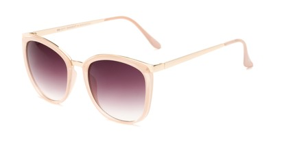 Angle of Primrose #6796 in Pink/Gold Frame with Smoke Lenses, Women's Round Sunglasses