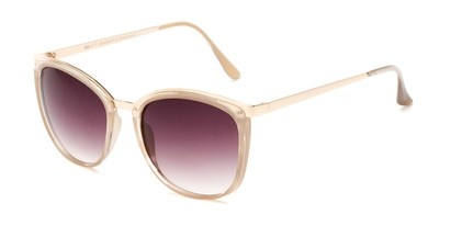 Angle of Primrose #6796 in Tan/Gold Frame with Smoke Lenses, Women's Round Sunglasses