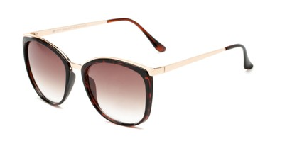 Angle of Primrose #6796 in Tortoise/Gold Frame with Amber Lenses, Women's Round Sunglasses