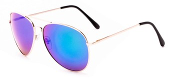 Angle of Solar #6799 in Gold Frame with Blue/Green Mirrored Lenses, Women's and Men's Aviator Sunglasses