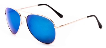 Angle of Solar #6799 in Gold Frame with Blue Mirrored Lenses, Women's and Men's Aviator Sunglasses