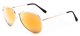 Angle of Solar #6799 in Gold Frame with Orange Mirrored Lenses, Women's and Men's Aviator Sunglasses