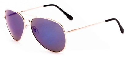 Angle of Solar #6799 in Gold Frame with Purple Mirrored Lenses, Women's and Men's Aviator Sunglasses