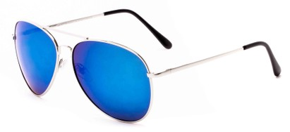 Angle of Solar #6799 in Silver Frame with Blue Mirrored Lenses, Women's and Men's Aviator Sunglasses