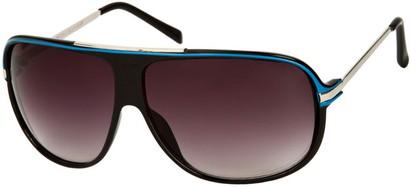 Angle of SW Oversized Aviator Style #445 in Black/Blue Frame with Smoke Lenses, Women's and Men's