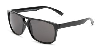 Angle of Rockland #6809 in Glossy Black Frame with Grey Lenses, Women's and Men's Retro Square Sunglasses
