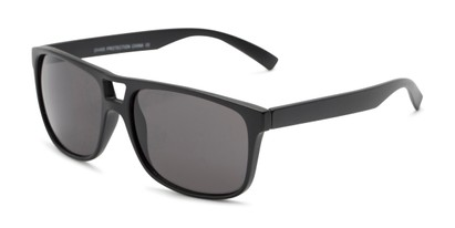 Angle of Rockland #6809 in Matte Black Frame with Grey Lenses, Women's and Men's Retro Square Sunglasses