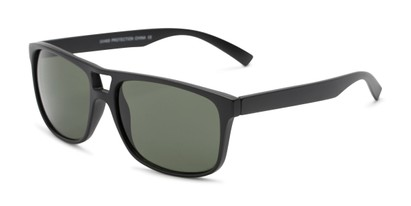Angle of Rockland #6809 in Matte Black Frame with Green Lenses, Women's and Men's Retro Square Sunglasses