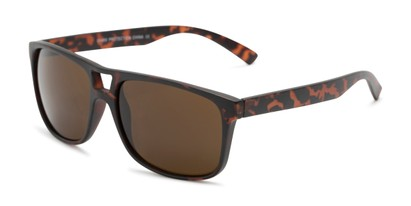 Angle of Rockland #6809 in Matte Tortoise Frame with Amber Lenses, Women's and Men's Retro Square Sunglasses