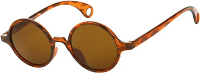 Angle of Gully #849 in Brown Tortoise Frame, Women's and Men's Round Sunglasses