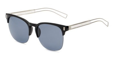 Angle of Woods #6852 in Black/Silver Frame with Grey Lenses, Women's and Men's Browline Sunglasses