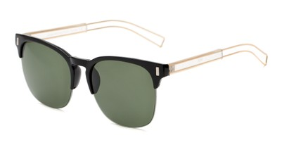 Angle of Woods #6852 in Black/Gold Frame with Green Lenses, Women's and Men's Browline Sunglasses
