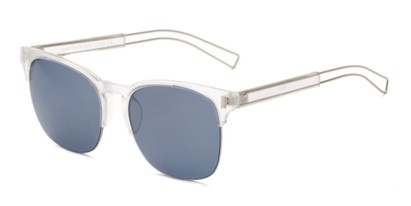 Angle of Woods #6852 in Matte Clear/Silver Frame with Grey Lenses, Women's and Men's Browline Sunglasses