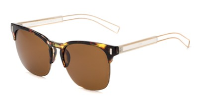 Angle of Woods #6852 in Tortoise/Gold Frame with Amber Lenses, Women's and Men's Browline Sunglasses