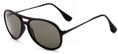 Angle of Chamber #6870 in Black Frame with Green Lenses, Women's and Men's Aviator Sunglasses