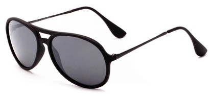 Angle of Chamber #6870 in Black Frame with Grey Lenses, Women's and Men's Aviator Sunglasses