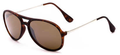Angle of Chamber #6870 in Tortoise Frame with Brown Lenses, Women's and Men's Aviator Sunglasses