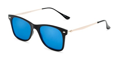 Angle of Collin #6879 in Black Frame with Blue Mirrored Lenses, Women's and Men's Retro Square Sunglasses