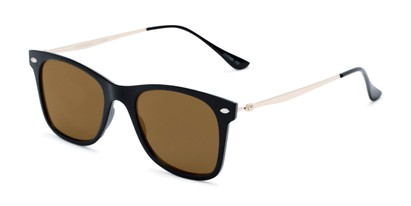 Angle of Collin #6879 in Black Frame with Gold Mirrored Lenses, Women's and Men's Retro Square Sunglasses