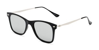 Angle of Collin #6879 in Black Frame with Silver Mirrored Lenses, Women's and Men's Retro Square Sunglasses