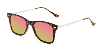 Angle of Collin #6879 in Tortoise Frame with Green/Pink Mirrored Lenses, Women's and Men's Retro Square Sunglasses