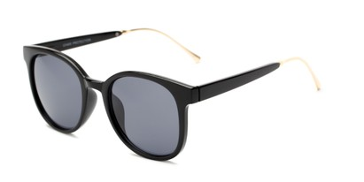 Angle of Baxter #6918 in Black Frame with Grey Lenses, Women's and Men's Round Sunglasses