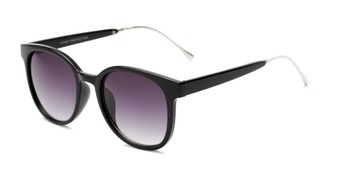 Angle of Baxter #6918 in Black Frame with Smoke Lenses, Women's and Men's Round Sunglasses