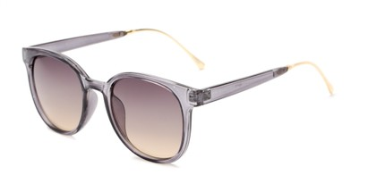 Angle of Baxter #6918 in Clear Grey Frame with Smoke Lenses, Women's and Men's Round Sunglasses