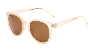 Angle of Baxter #6918 in Clear Tan Frame with Amber Lenses, Women's and Men's Round Sunglasses