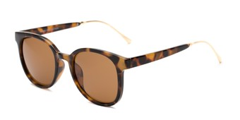 Angle of Baxter #6918 in Tortoise Frame with Amber Lenses, Women's and Men's Round Sunglasses