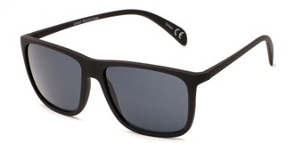 Angle of Brooks #6924 in Black Frame with Grey Lenses, Men's Retro Square Sunglasses