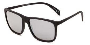 Angle of Bensley #6925 in Black Frame with Silver Mirrored Lenses, Men's Retro Square Sunglasses
