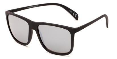 Angle of Bensley in Black Frame with Silver Mirrored Lenses, Men's Retro Square Sunglasses